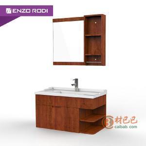 德国安住 栗茶色多层实木洗手盆浴室镜架套餐组合