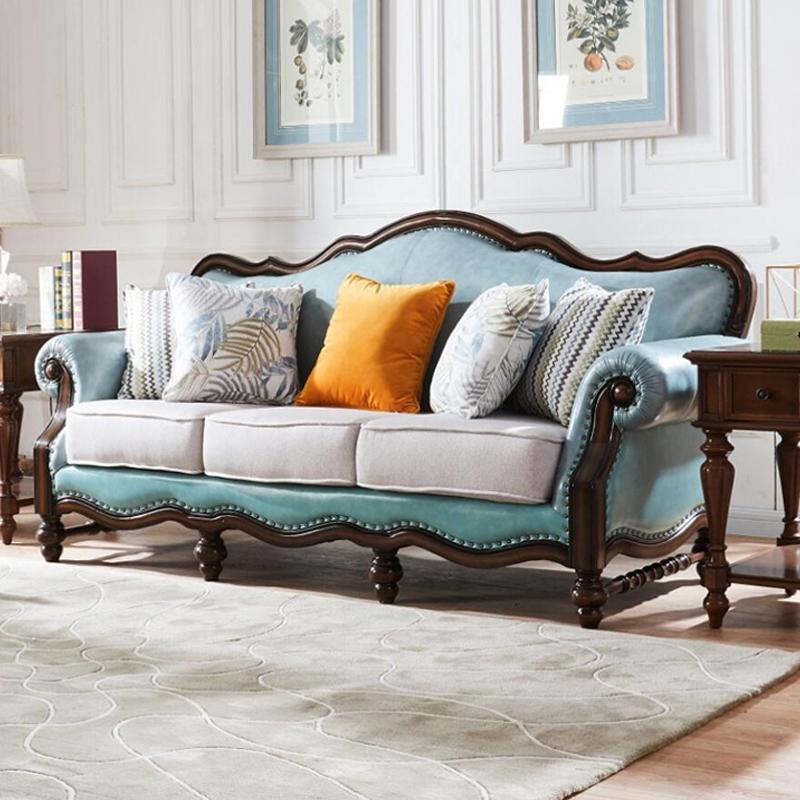 美式铜钉工艺新古典棕沙发
