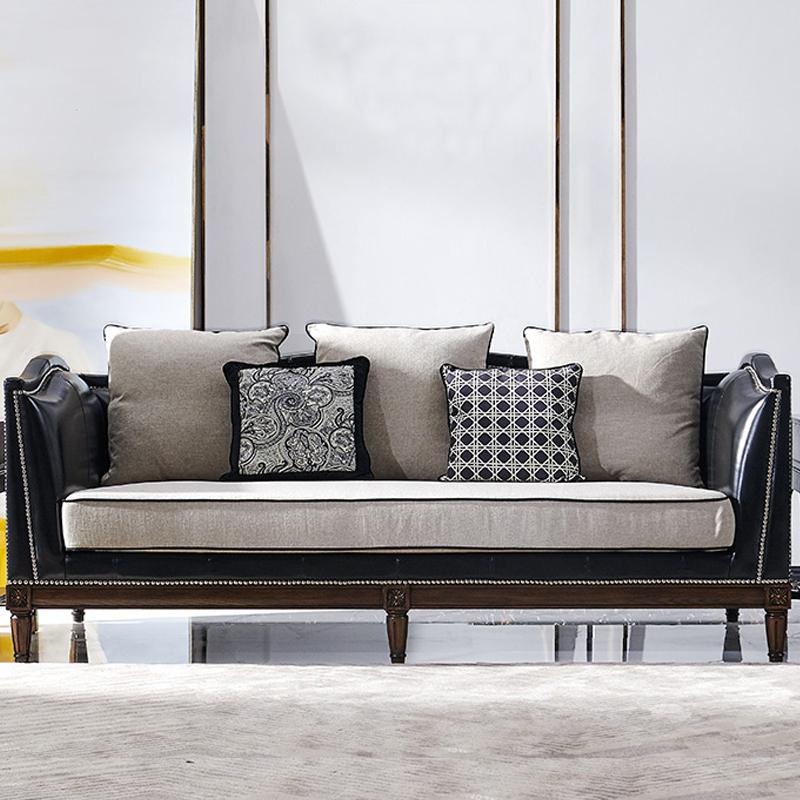 美式铜钉布艺沙发